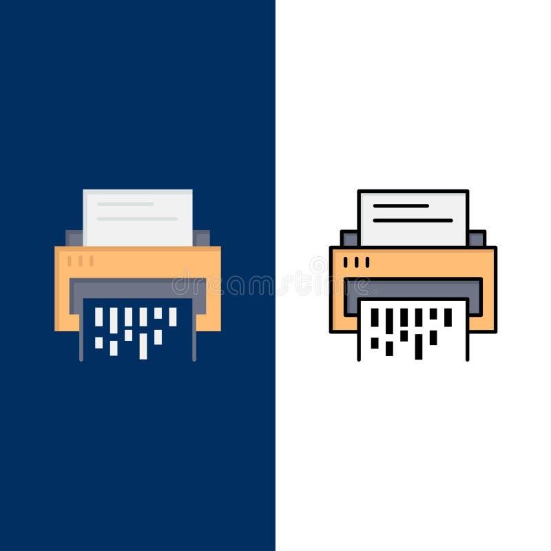 Конфиденциальный, данные, удаление, документ, файл, информация, значки шредера Квартира и линия заполненный значок установили пре иллюстрация вектора