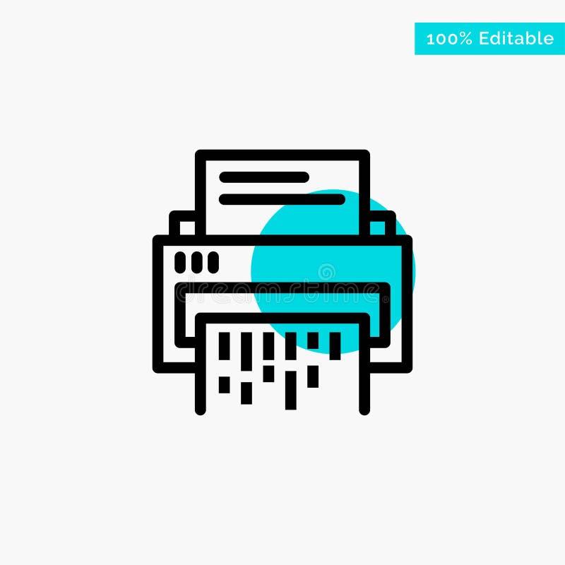Конфиденциальный, данные, удаление, документ, файл, информация, значок вектора пункта круга самого интересного бирюзы шредера иллюстрация штока