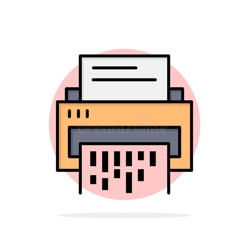 Конфиденциальный, данные, удаление, документ, файл, информация, значок цвета предпосылки круга конспекта шредера плоский иллюстрация вектора
