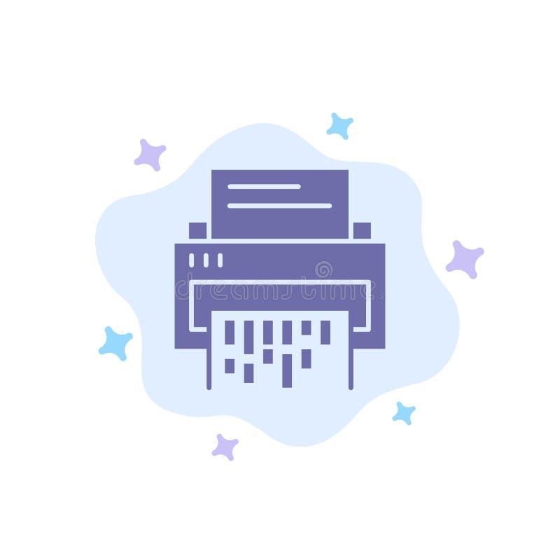 Конфиденциальный, данные, удаление, документ, файл, информация, значок шредера голубой на абстрактной предпосылке облака иллюстрация штока