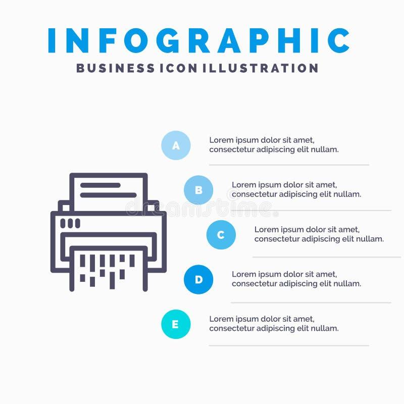 Конфиденциальный, данные, удаление, документ, файл, информация, линия значок шредера с предпосылкой infographics представления 5  иллюстрация штока