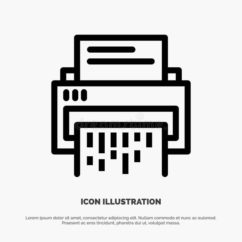 Конфиденциальный, данные, удаление, документ, файл, информация, линия вектор шредера значка иллюстрация вектора