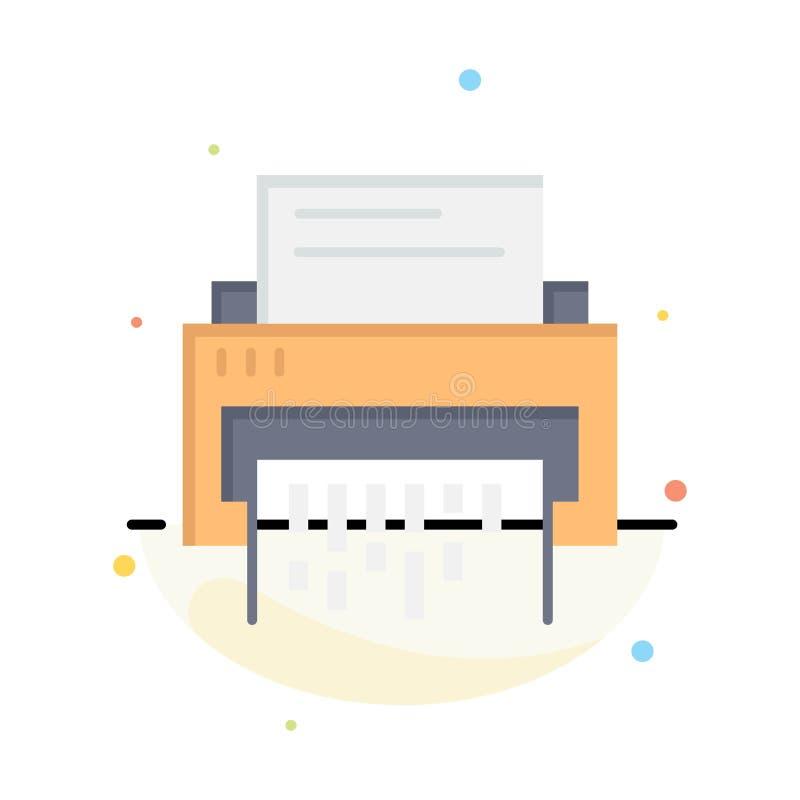 Конфиденциальный, данные, удаление, документ, файл, информация, шаблон значка цвета конспекта шредера плоский иллюстрация вектора