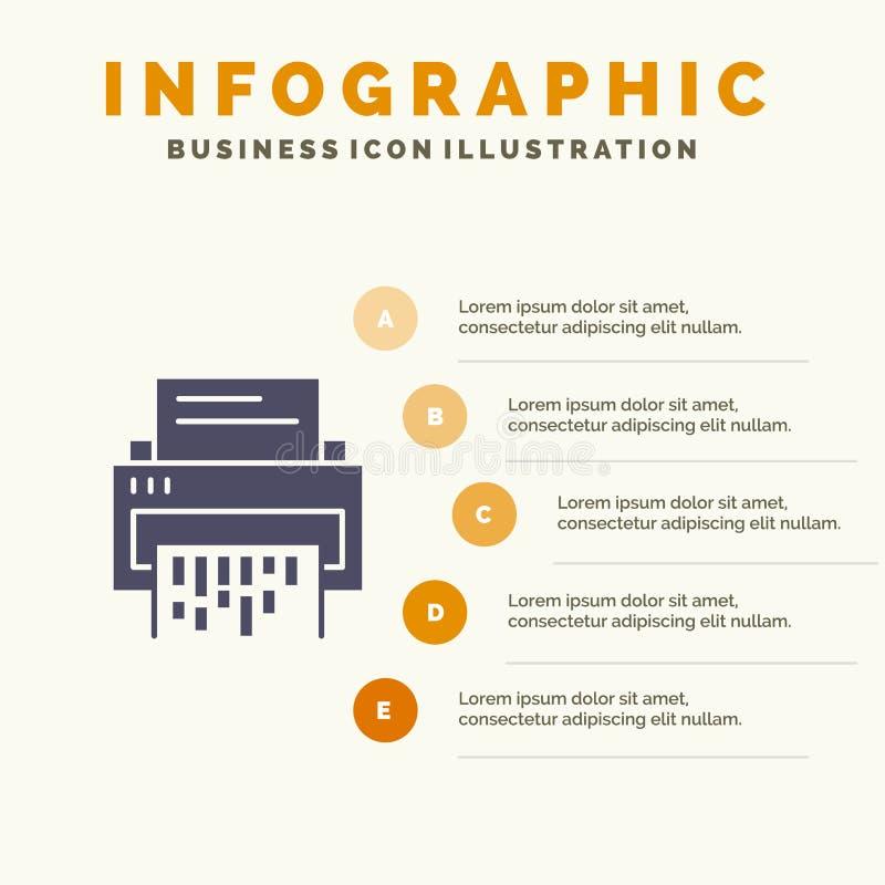 Конфиденциальный, данные, удаление, документ, файл, информация, предпосылка представления шагов Infographics 5 значка шредера тве иллюстрация штока
