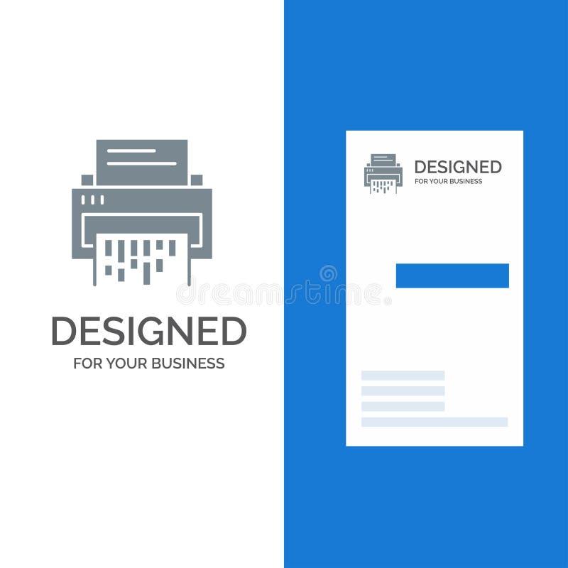 Конфиденциальный, данный, удаление, документ, файл, информация, дизайн логотипа шредера серые и шаблон визитной карточки бесплатная иллюстрация