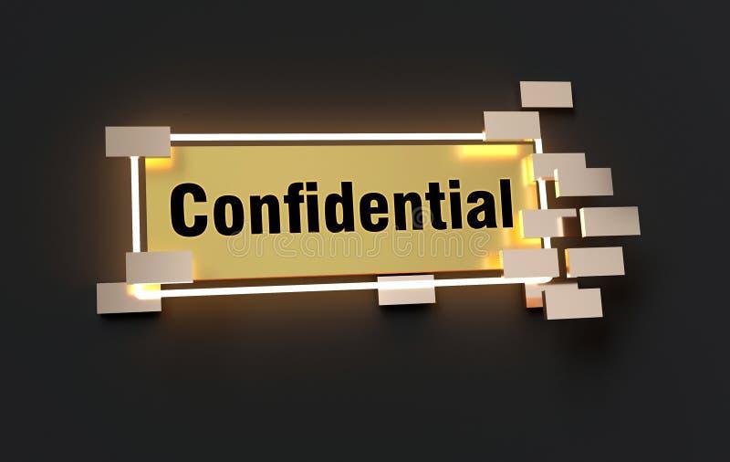 Конфиденциальный современный золотой знак иллюстрация штока