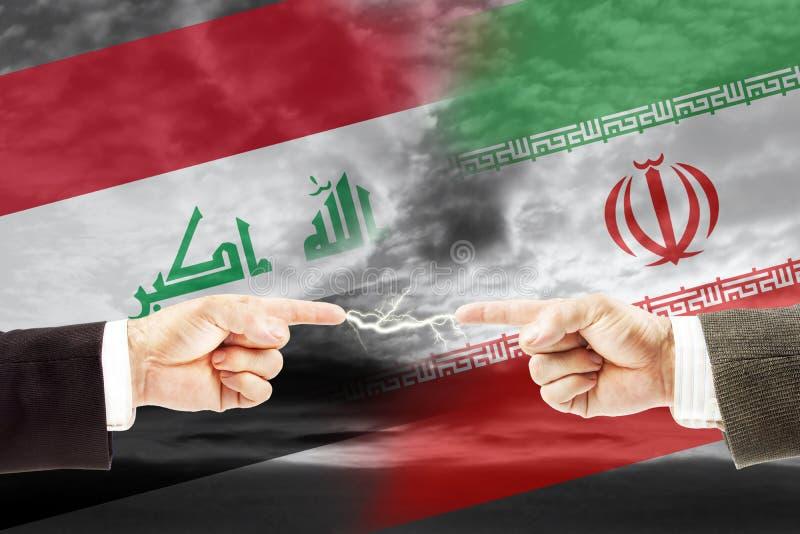 Конфронтация и вражда между Ираком и Ираном стоковые изображения