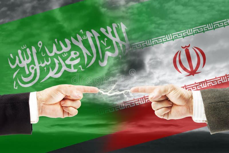 Конфронтация и вражда между Саудовской Аравией и Ираном стоковая фотография