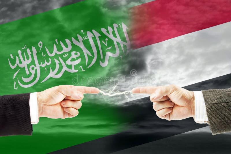 Конфронтация и вражда между Саудовской Аравией и Йемен стоковые фотографии rf