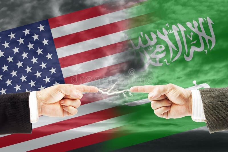 Конфронтация и вражда между Саудовской Аравией и Соединенными Штатами Америки стоковые фотографии rf