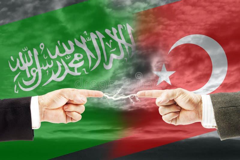 Конфронтация и вражда между Саудовской Аравией и Турцией стоковые изображения