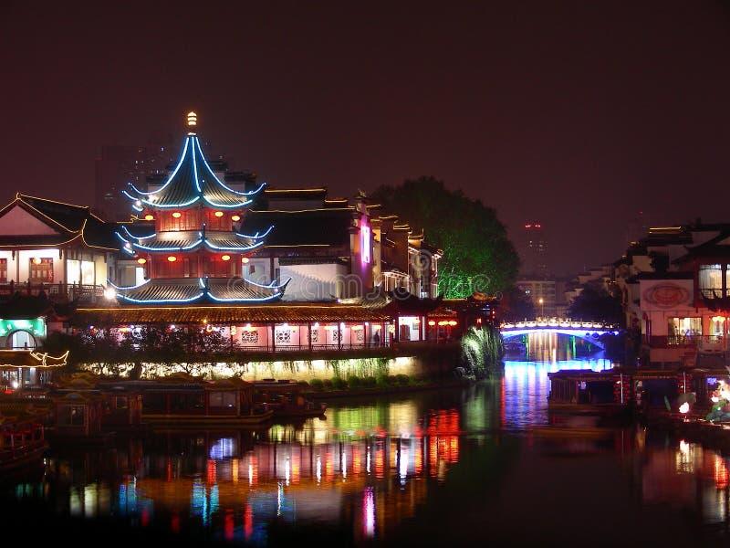конфуцианский висок места ночи стоковое фото rf