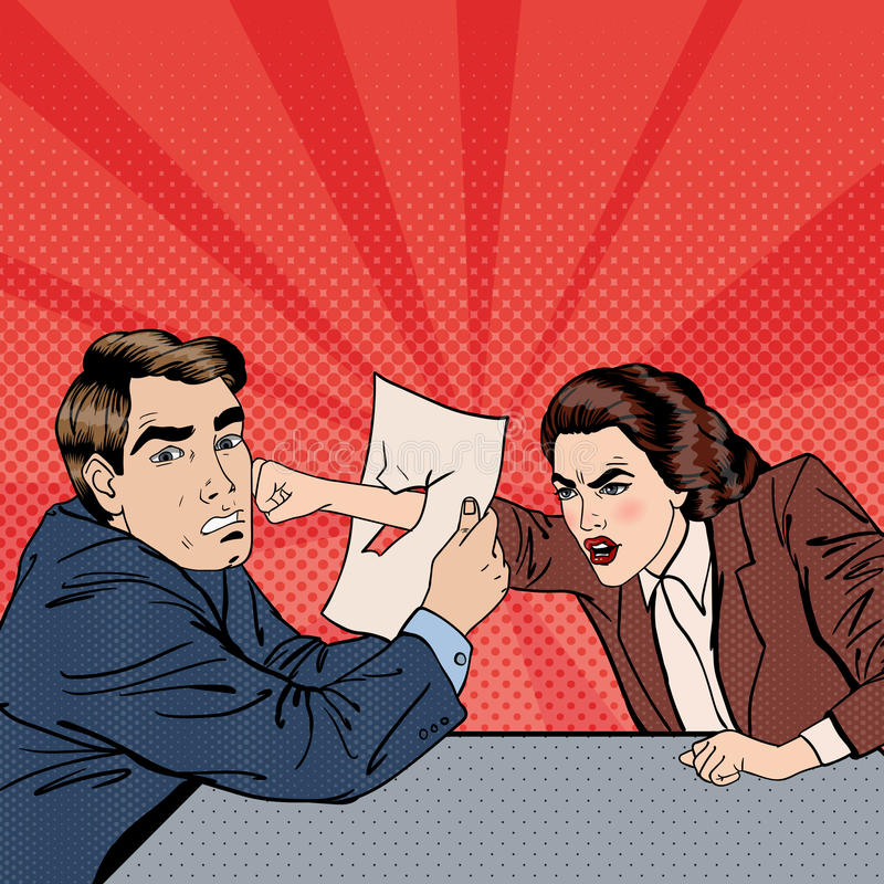 Конфликт между бизнесменом и коммерсанткой Разногласие на деловых переговорах Искусство шипучки иллюстрация штока
