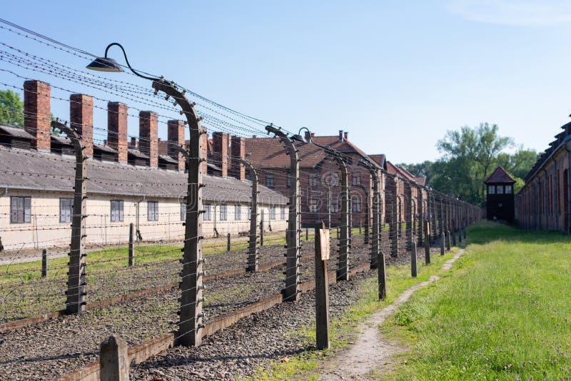КОНЦЕНТРАЦИОННЫЙ ЛАГЕРЬ AUSCHWITZ-BIRKENAU, ПОЛЬША - ИЮНЬ 2017: Концентрационный лагерь Освенцим в Польше E стоковое изображение rf