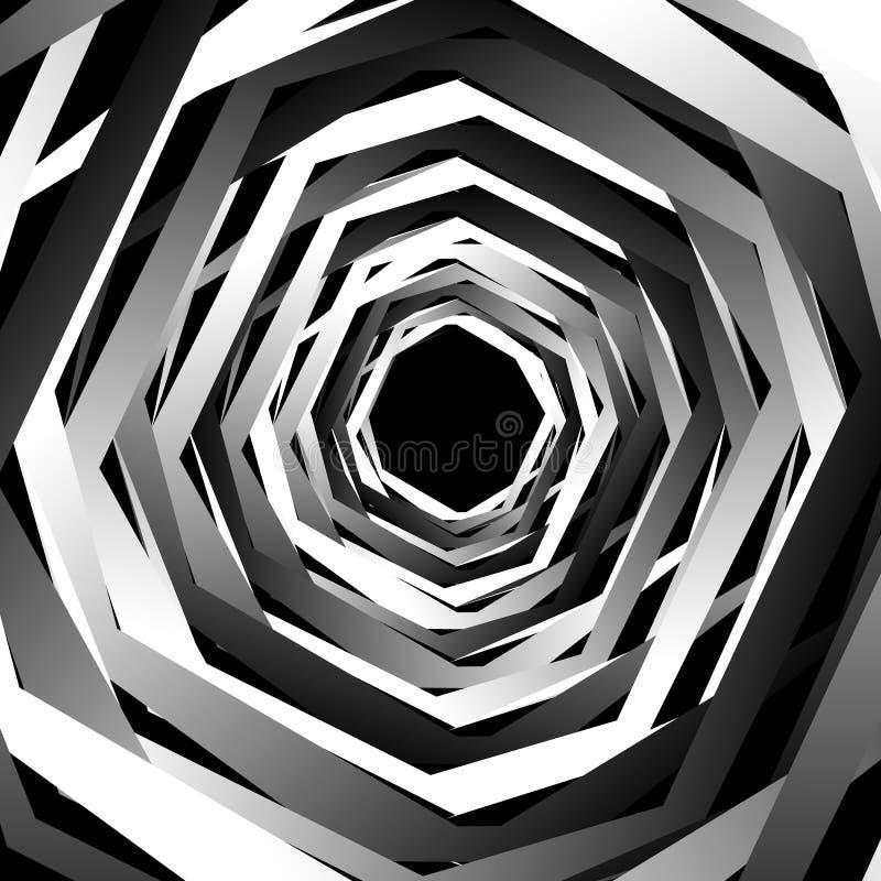 Концентрические геометрические шестиугольники/восьмиугольники Абстрактное PA monochrome иллюстрация штока