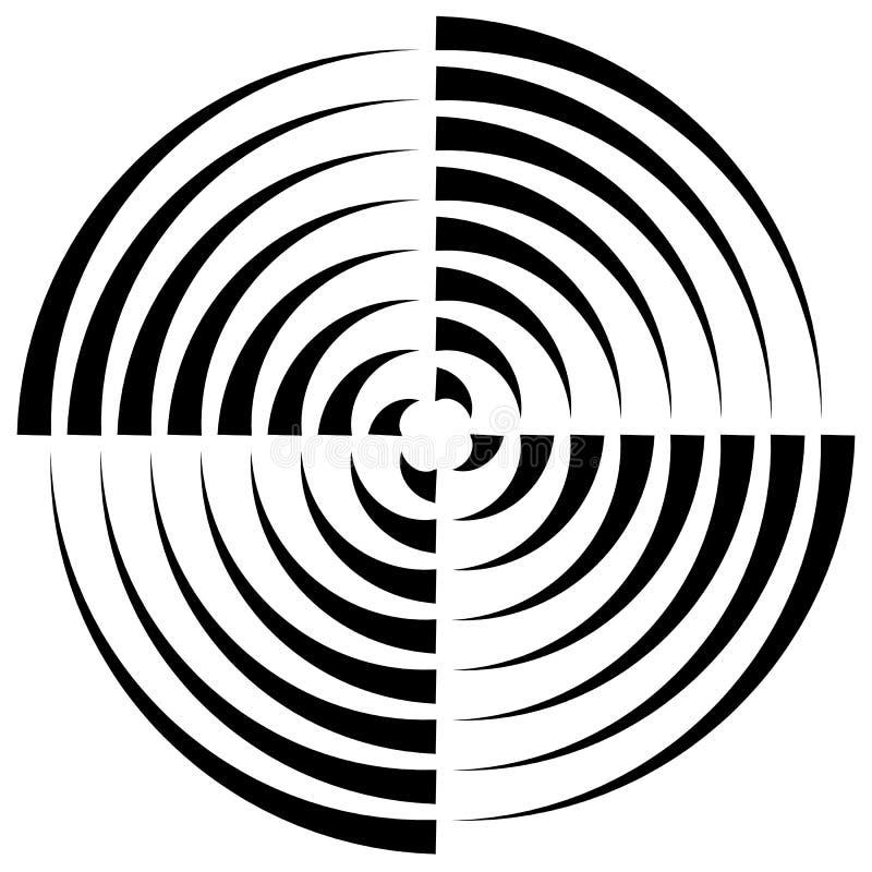 Download Концентрические круги отрезали в квартале - абстрактном Monochrome Radiat Иллюстрация вектора - иллюстрации насчитывающей концентрическо, роторно: 81812472