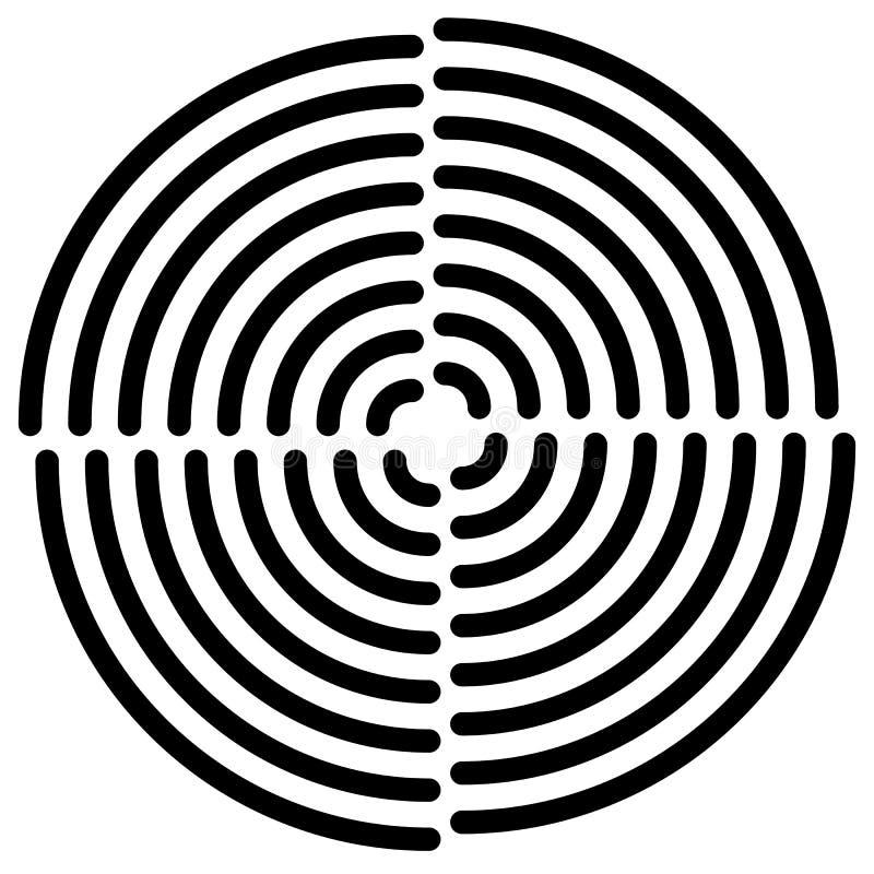 Download Концентрические круги отрезали в квартале - абстрактном Monochrome Radiat Иллюстрация вектора - иллюстрации насчитывающей бесцветно, черный: 81812507