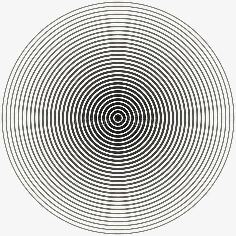 Концентрический круг Иллюстрация для звуковой войны Черно-белое кольцо цвета иллюстрация стоковая фотография rf