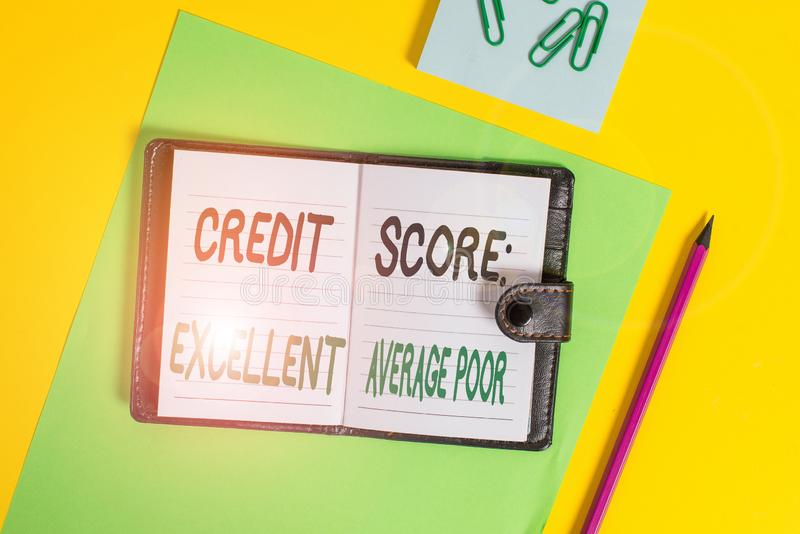 Концептуальная рукописная запись, показывающая, что кредитный балл превосходно падает в среднем Уровень кредитоспособности стоковые изображения rf
