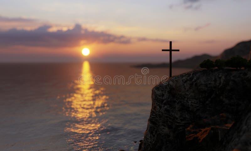 Концептуальный религиозный христианский крест стоит на камне стоковое фото rf