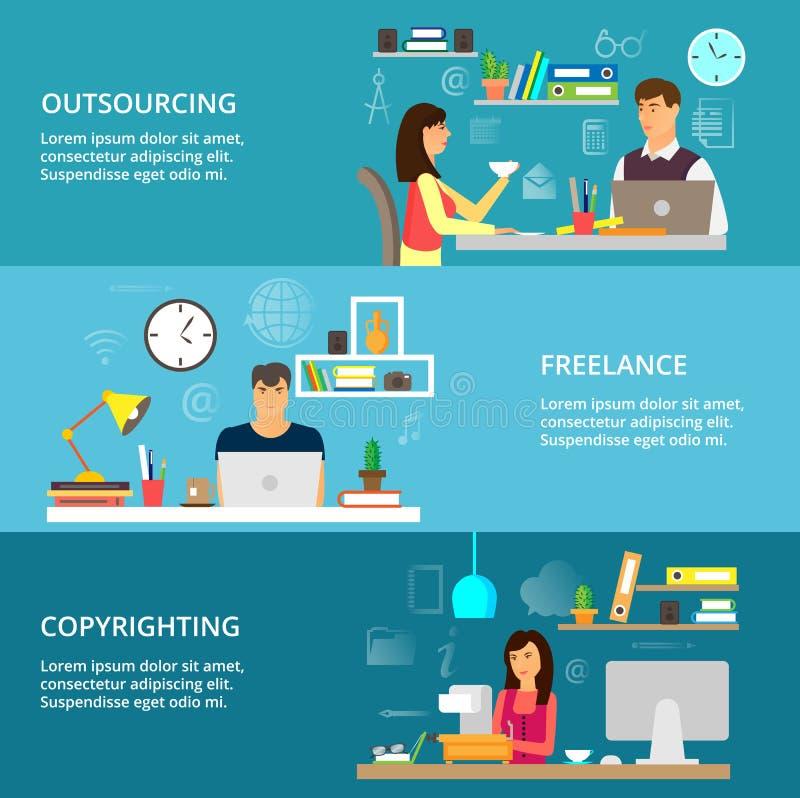Концепции аутсорсинга, работать и процесс бесплатная иллюстрация