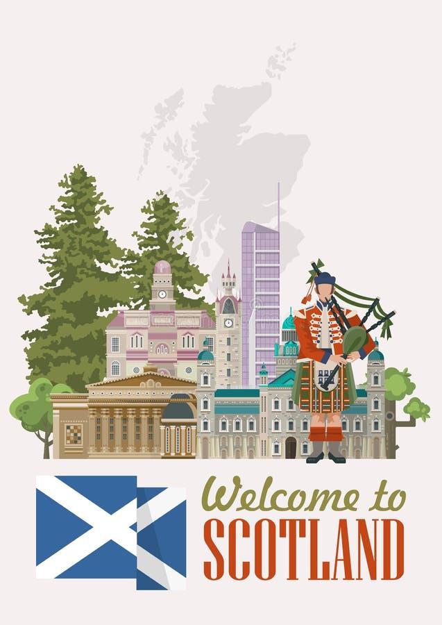Концепции вектора перемещения Шотландии в современном светлом дизайне Шотландские ландшафты иллюстрация штока