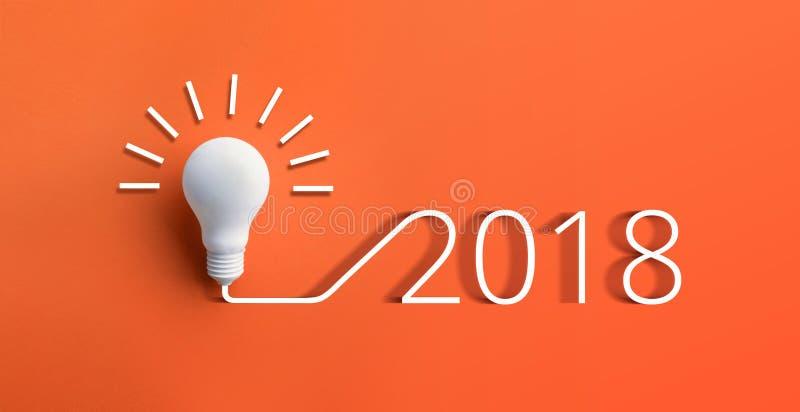 концепции 2018 воодушевленности творческих способностей с лампочкой стоковое фото rf