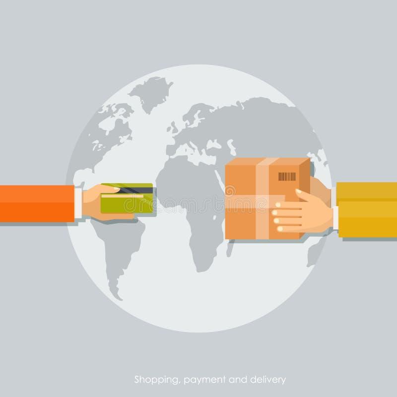 Концепции покупок, оплата с карточкой, обслуживание поставки стоковое изображение