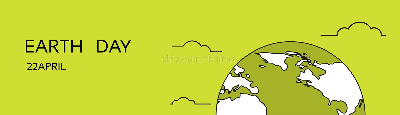 Концепции предохранения от эмблемы глобуса праздника в апреле мира дня земли знамя национальной экологической горизонтальное иллюстрация вектора