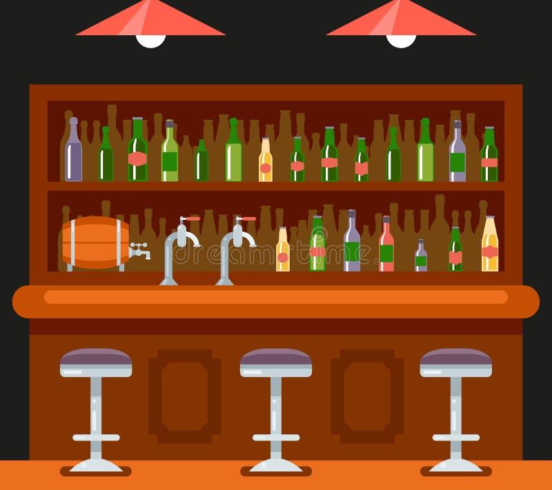 Концепции предпосылки значка дома пива спирта символа кафа бар-ресторана паба вектор шаблона дизайна внутренней плоский иллюстрация вектора