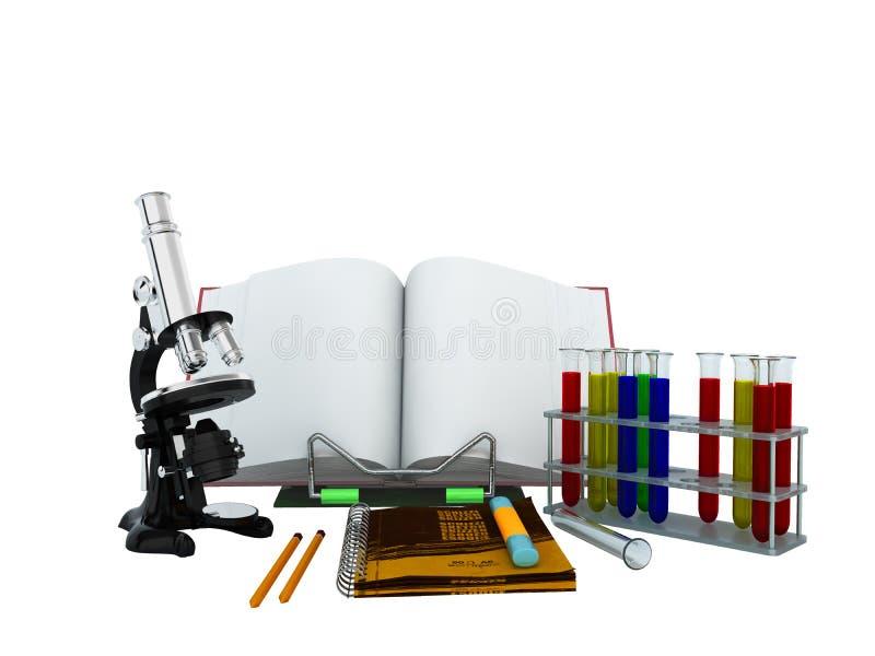 Концепции школы и microscop пробирок 3d биологии образования иллюстрация штока
