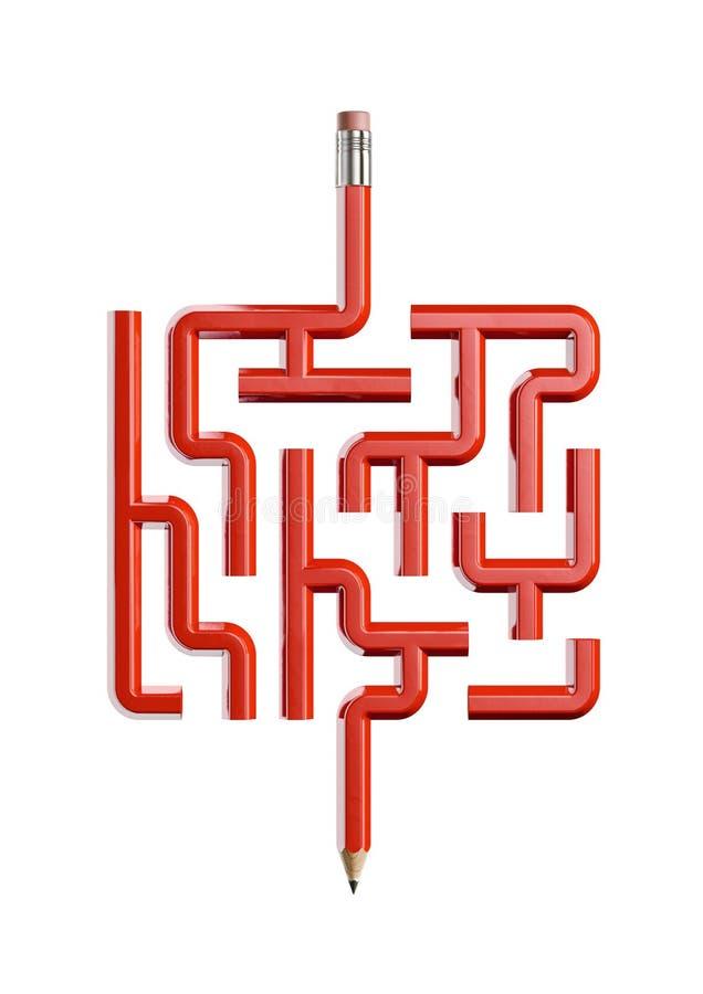 Концепция лабиринта карандаша иллюстрация штока
