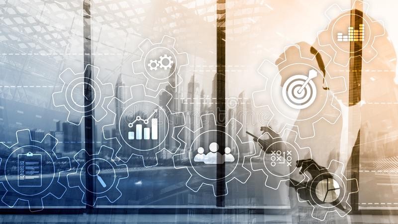 Концепция автоматизации бизнес-процесса Шестерни и значки на абстрактной предпосылке стоковое изображение
