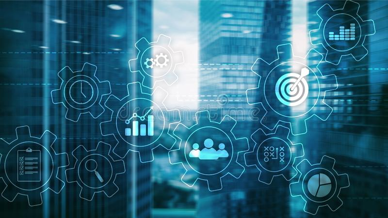Концепция автоматизации бизнес-процесса Шестерни и значки на абстрактной предпосылке стоковое фото rf