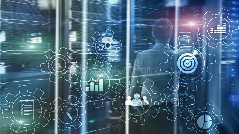 Концепция автоматизации бизнес-процесса Шестерни и значки на абстрактной предпосылке иллюстрация штока
