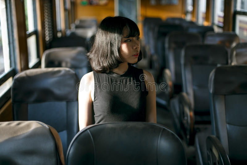 Концепция азиатской девушки стиля этничности милой милой женская молодая стоковое изображение rf