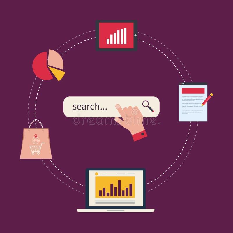 Концепция аналитика вебсайта и анализа данных SEO иллюстрация вектора