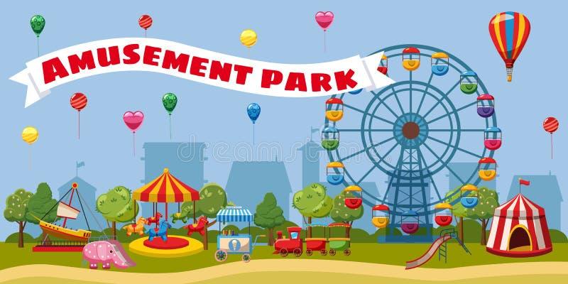 Концепция ландшафта парка атракционов, стиль шаржа бесплатная иллюстрация