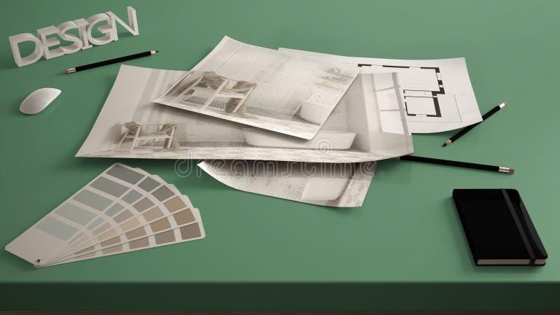 Концепция архитектора дизайнерская, таблица близкая вверх с внутренним проектом реновации, светокопиями чертежа дизайна интерьера стоковые фото