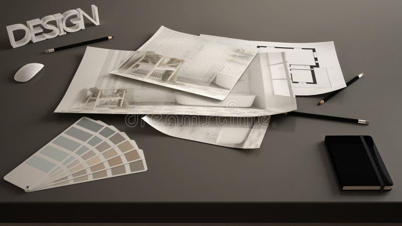 Концепция архитектора дизайнерская, таблица близкая вверх с внутренним проектом реновации, светокопиями чертежа дизайна интерьера стоковое изображение