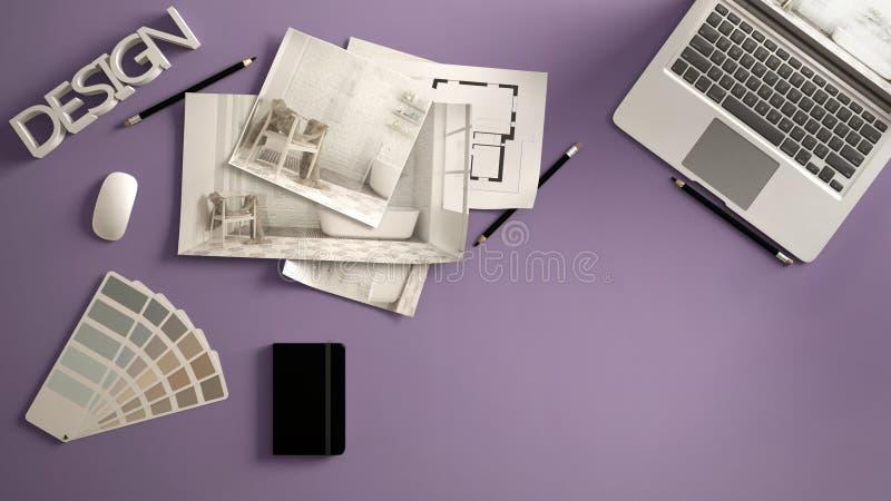 Концепция архитектора дизайнерская, фиолетовый стол работы с компьютером, бумажный проект, изображения проекта спальни и светокоп стоковое изображение rf