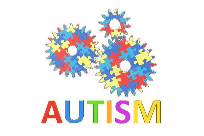 Концепция аутизма с cogwheels, 3D иллюстрация вектора
