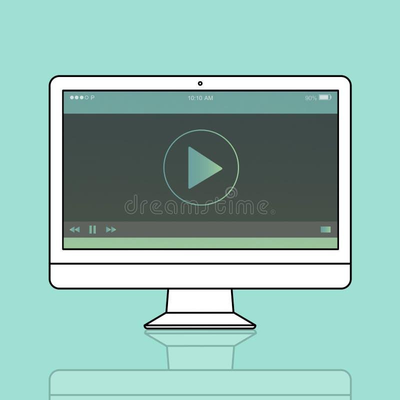 Концепция аудиоплейера мультимедиа видео- иллюстрация штока