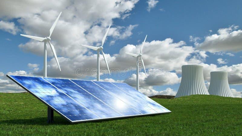 Концепция альтернативной энергии с ветротурбинами, панелями солнечных батарей и электростанцией ядерной энергии стоковое изображение