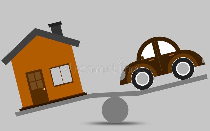 Концепция баланса дома и автомобиля иллюстрация вектора