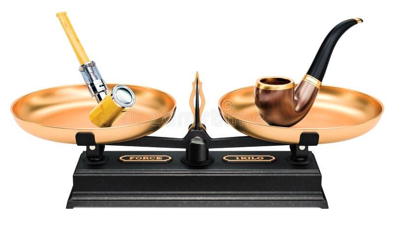 Концепция баланса, куря труба и e-труба перевод 3d иллюстрация вектора