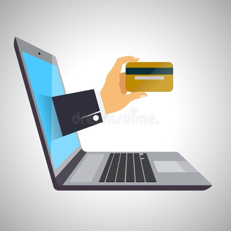 Концепция банка интернета, изолированная на белой предпосылке Компьтер-книжка, рука с кредитной карточкой иллюстрация вектора