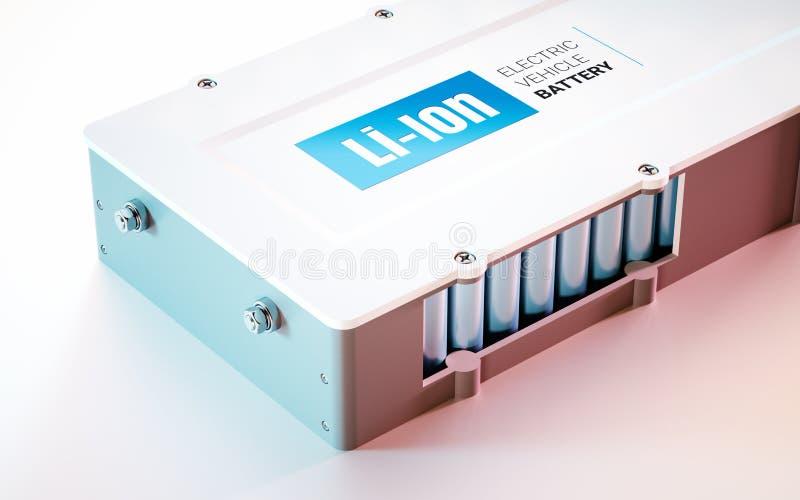 Концепция батареи Li-иона электротранспорта EV Закройте вверх по взгляду 3d иллюстрация вектора