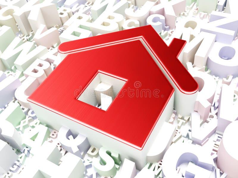 Концепция безопасностью: Дом на предпосылке алфавита стоковое изображение rf