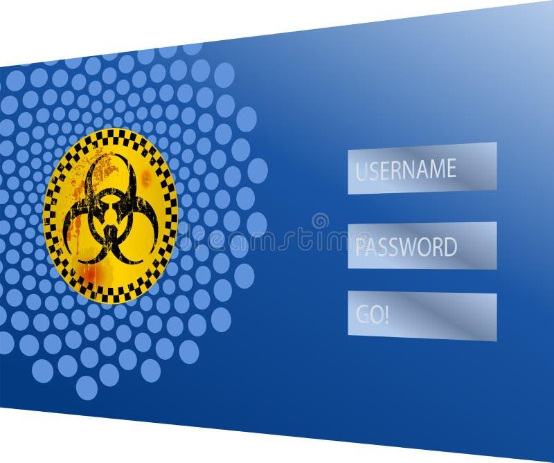 Концепция безопасностью интернета, компьютерный вирус, рубя предупреждающий знак сигнала тревоги иллюстрация вектора
